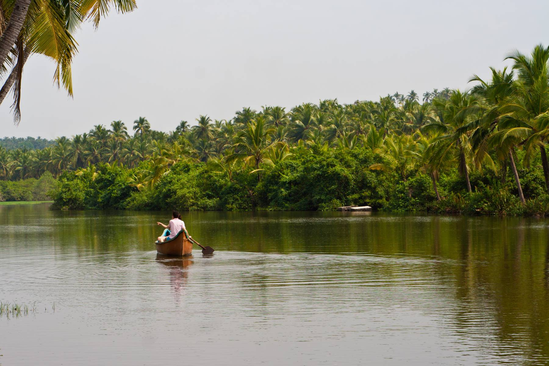 Ensam kanot i backwaters